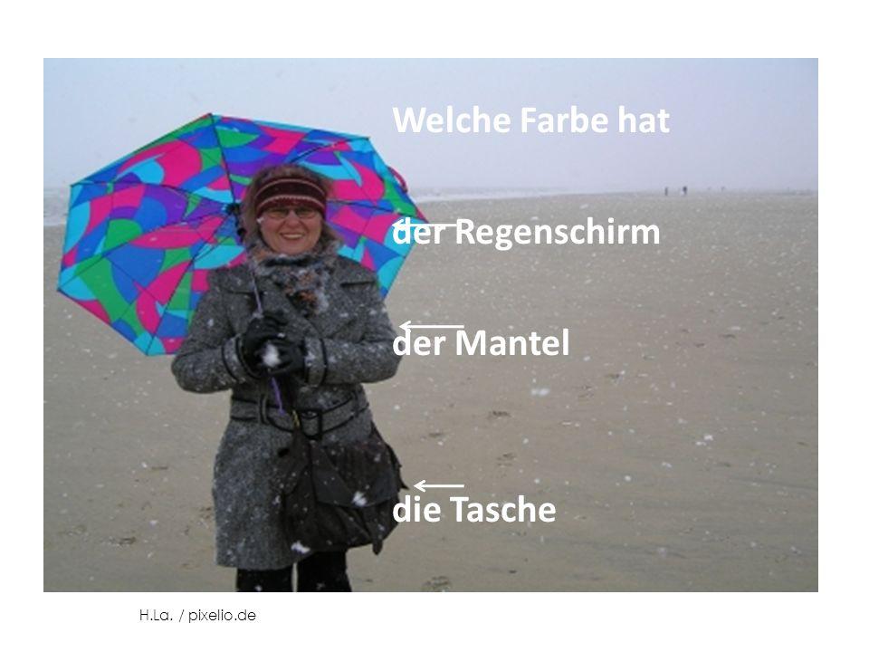 Welche Farbe hat der Regenschirm der Mantel die Tasche H.La. / pixelio.de
