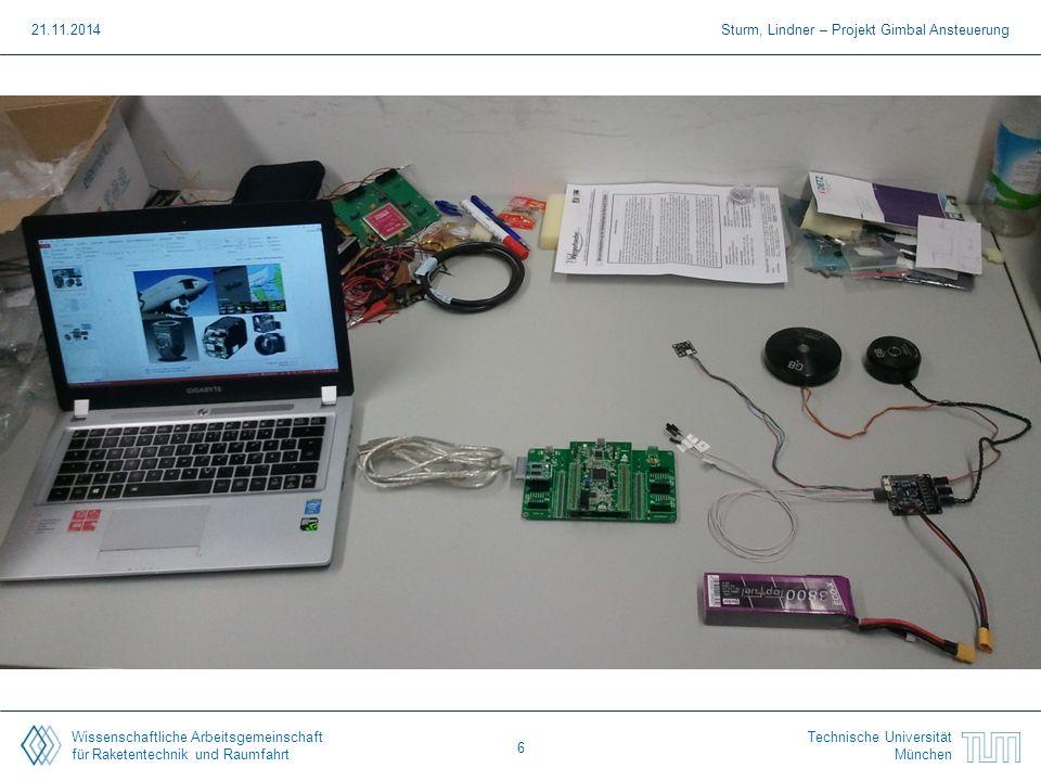 Wissenschaftliche Arbeitsgemeinschaft für Raketentechnik und Raumfahrt Technische Universität München 21.11.2014Sturm, Lindner – Projekt Gimbal Ansteu