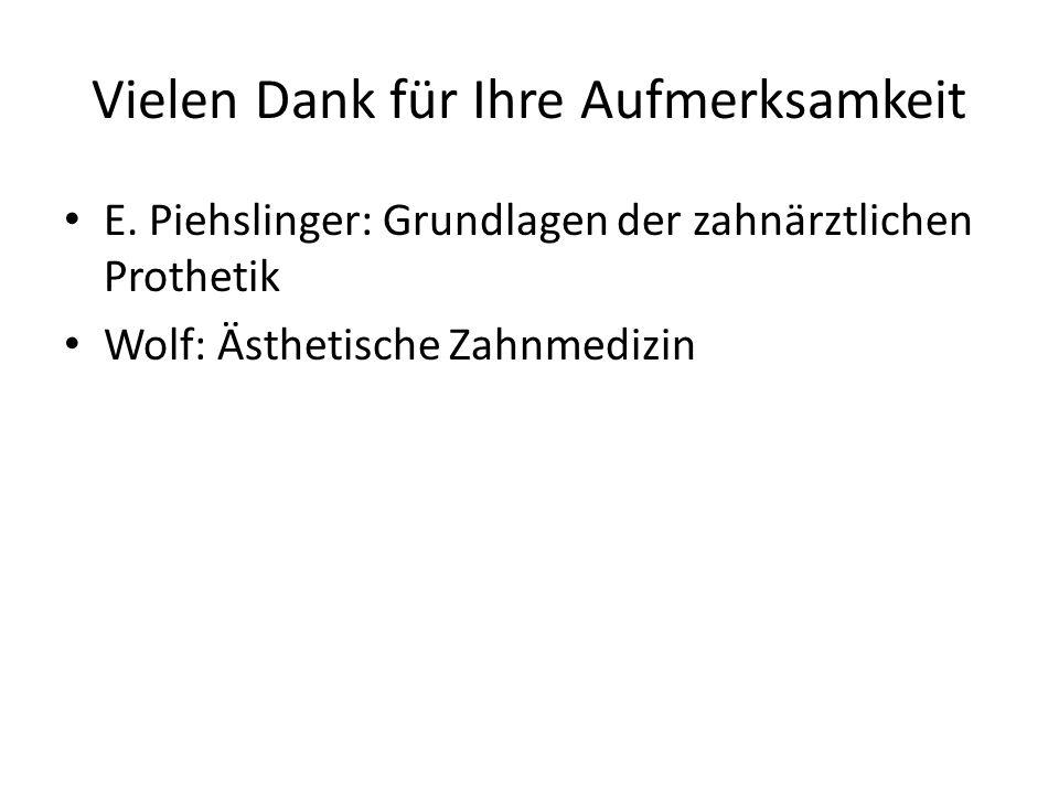 Vielen Dank für Ihre Aufmerksamkeit E. Piehslinger: Grundlagen der zahnärztlichen Prothetik Wolf: Ästhetische Zahnmedizin