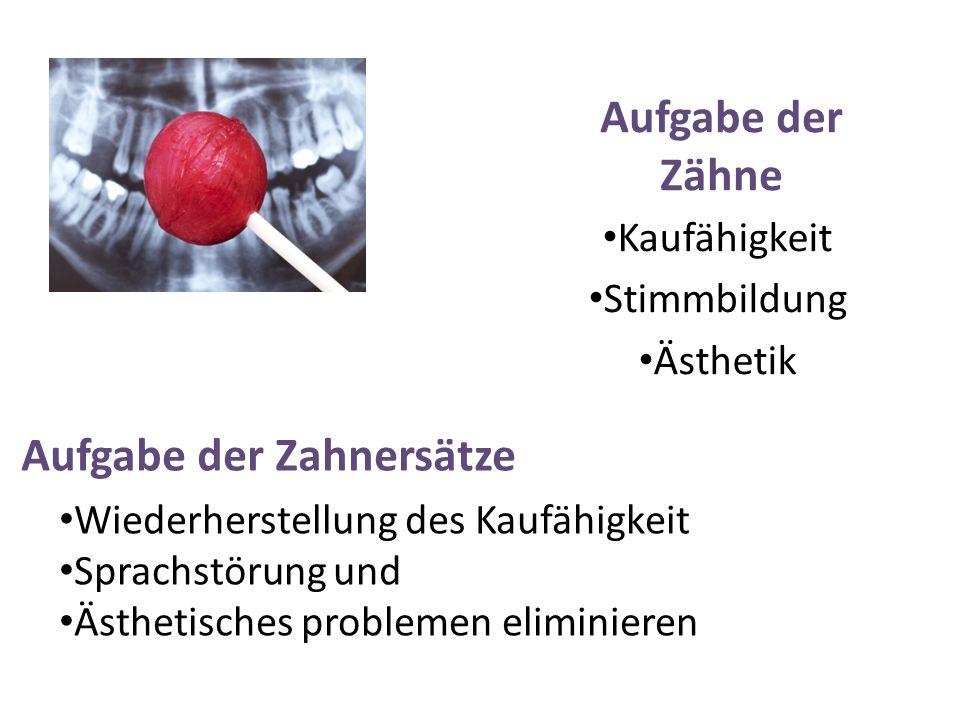 Aufgabe der Zähne Kaufähigkeit Stimmbildung Ästhetik Aufgabe der Zahnersätze Wiederherstellung des Kaufähigkeit Sprachstörung und Ästhetisches problem
