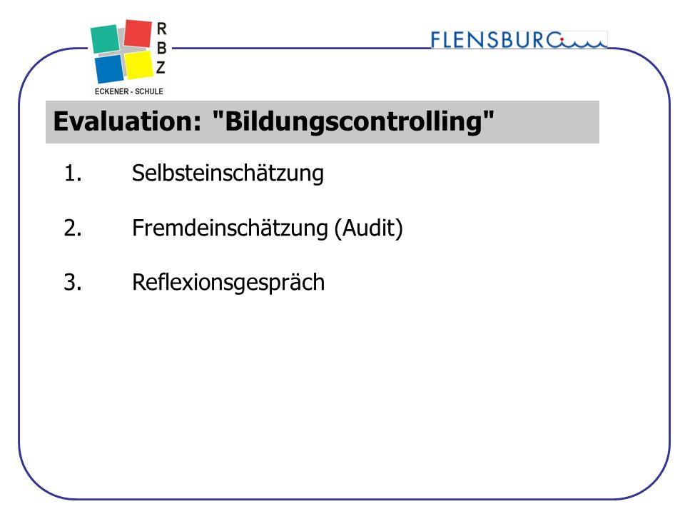 15 Evaluation: Bildungscontrolling 1.Selbsteinschätzung 2.Fremdeinschätzung (Audit) 3.