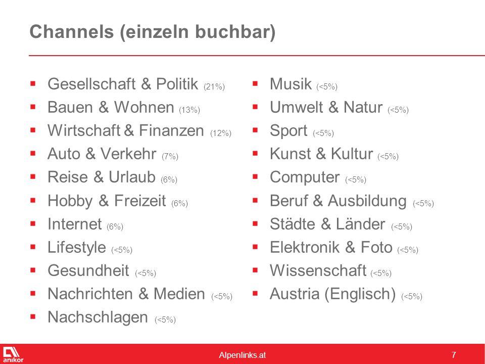 Alpenlinks.at7 Channels (einzeln buchbar)  Gesellschaft & Politik (21%)  Bauen & Wohnen (13%)  Wirtschaft & Finanzen (12%)  Auto & Verkehr (7%)  Reise & Urlaub (6%)  Hobby & Freizeit (6%)  Internet (6%)  Lifestyle (<5%)  Gesundheit (<5%)  Nachrichten & Medien (<5%)  Nachschlagen (<5%)  Musik (<5%)  Umwelt & Natur (<5%)  Sport (<5%)  Kunst & Kultur (<5%)  Computer (<5%)  Beruf & Ausbildung (<5%)  Städte & Länder (<5%)  Elektronik & Foto (<5%)  Wissenschaft (<5%)  Austria (Englisch) (<5%)