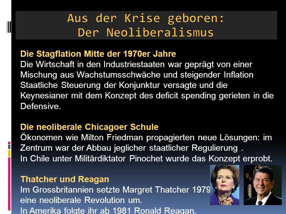 Die Stagflation Mitte der 1970er Jahre Die Wirtschaft in den Industriestaaten war geprägt von einer Mischung aus Wachstumsschwäche und steigender Inflation Staatliche Steuerung der Konjunktur versagte und die Keynesianer mit dem Konzept des deficit spending gerieten in die Defensive.