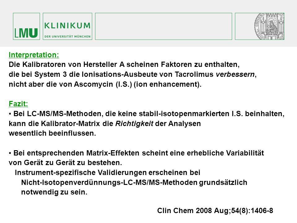Interpretation: Die Kalibratoren von Hersteller A scheinen Faktoren zu enthalten, die bei System 3 die Ionisations-Ausbeute von Tacrolimus verbessern, nicht aber die von Ascomycin (I.S.) (ion enhancement).