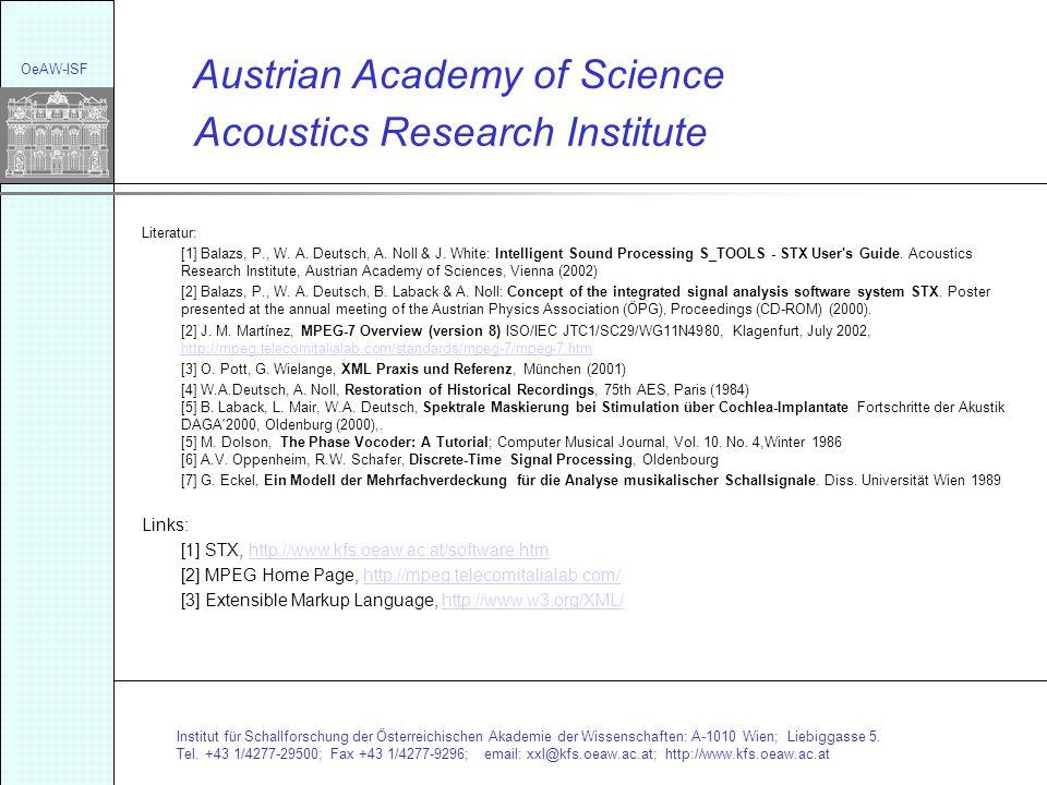 Institut für Schallforschung der Österreichischen Akademie der Wissenschaften: A-1010 Wien; Liebiggasse 5. Tel. +43 1/4277-29500; Fax +43 1/4277-9296;