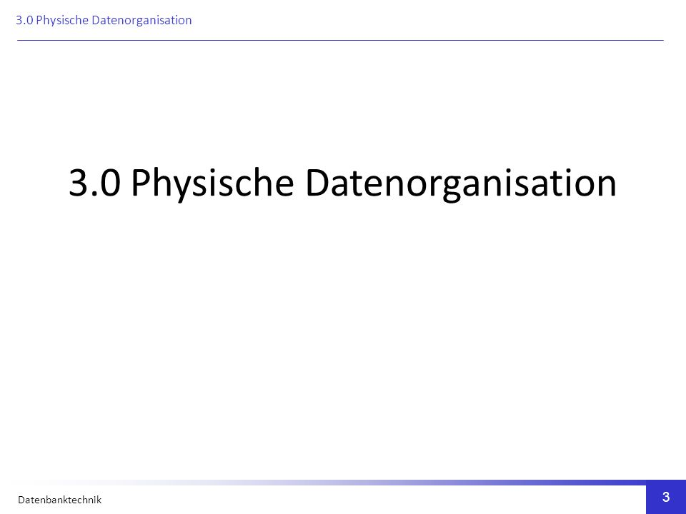 Datenbanktechnik Physische Datenorganisation