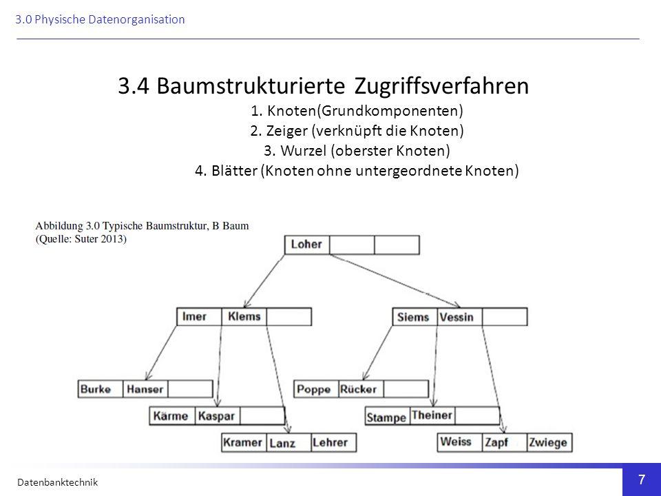 Datenbanktechnik 7 3.4 Baumstrukturierte Zugriffsverfahren 1.