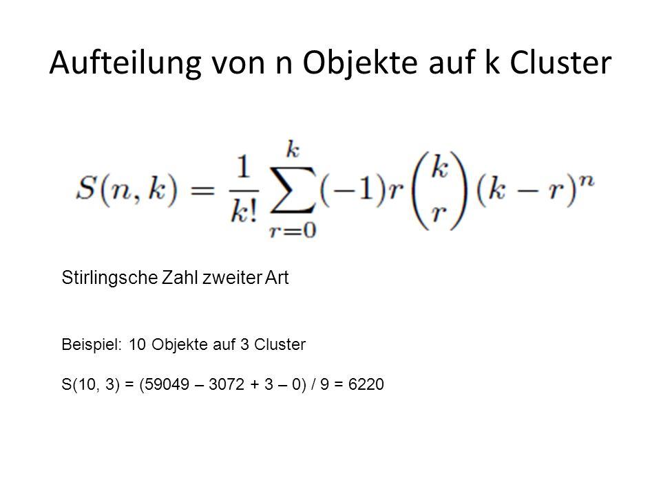 Aufteilung von n Objekte auf k Cluster Stirlingsche Zahl zweiter Art Beispiel: 10 Objekte auf 3 Cluster S(10, 3) = (59049 – 3072 + 3 – 0) / 9 = 6220