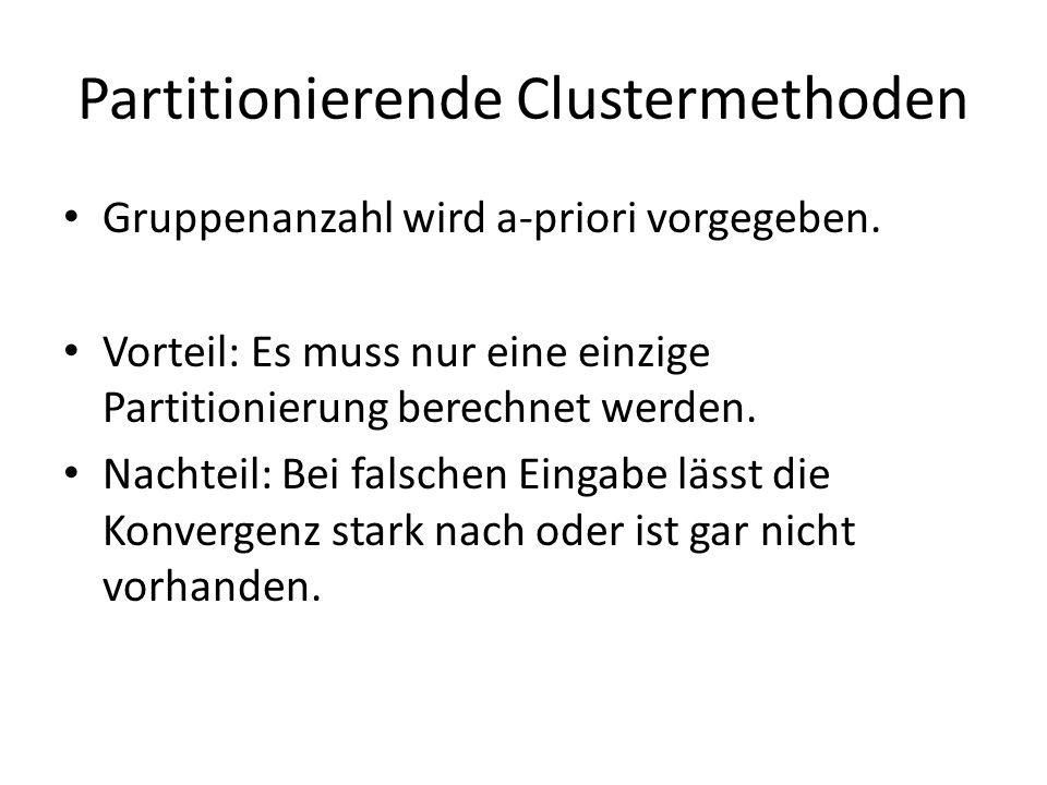 Partitionierende Clustermethoden Gruppenanzahl wird a-priori vorgegeben.