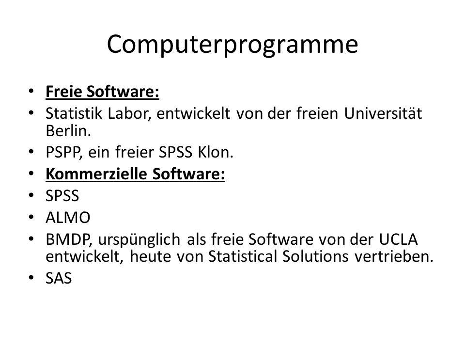 Computerprogramme Freie Software: Statistik Labor, entwickelt von der freien Universität Berlin.