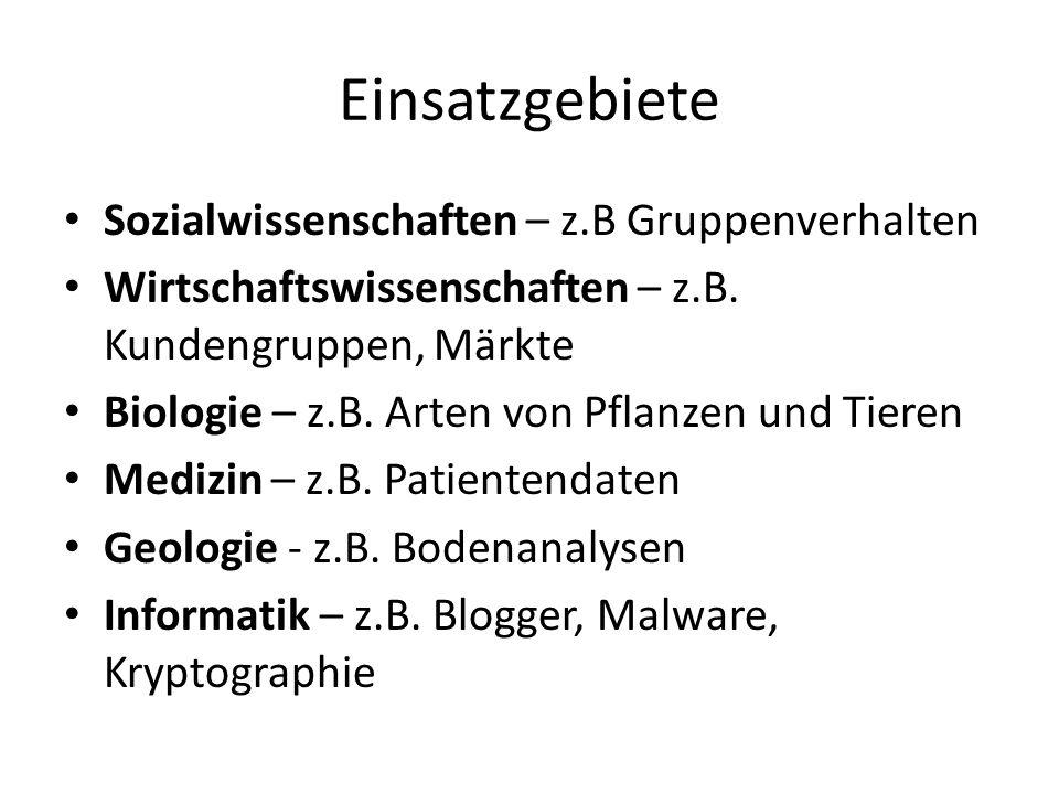 Einsatzgebiete Sozialwissenschaften – z.B Gruppenverhalten Wirtschaftswissenschaften – z.B.