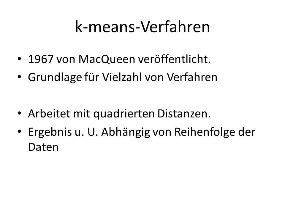 k-means-Verfahren 1967 von MacQueen veröffentlicht.