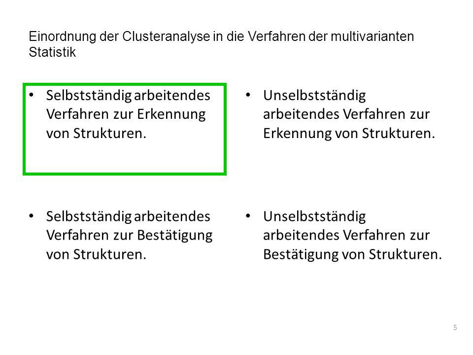 Einordnung der Clusteranalyse in die Verfahren der multivarianten Statistik Selbstständig arbeitendes Verfahren zur Erkennung von Strukturen.