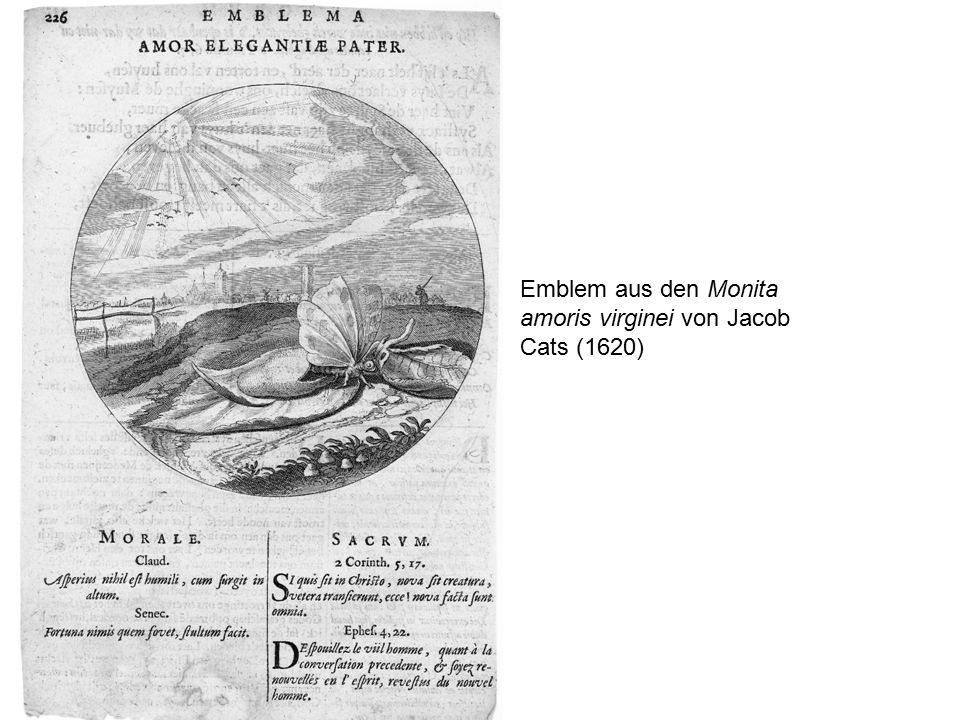 Emblem aus den Monita amoris virginei von Jacob Cats (1620)