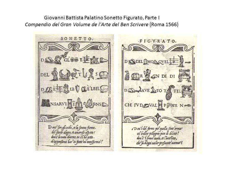 Giovanni Battista Palatino Sonetto Figurato, Parte I Compendio del Gran Volume de l Arte del Ben Scrivere (Roma 1566)