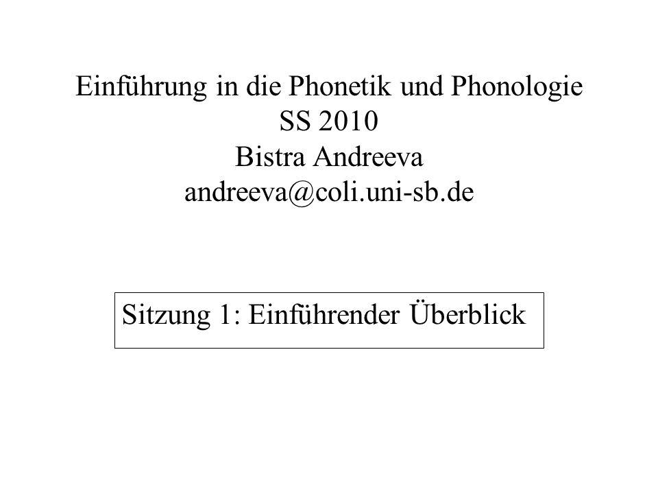  Beschreibungsziele und -prinzipien  Lautsprachliche Produktionsmechanismen  Akustische Beschreibung  Sprachperzeption  Funktionsbezogene Beschreibung = Phonologie Definition: Phonetik und Phonologie = Lautsprachliche Beschreibung Bereiche, die wir behandeln: