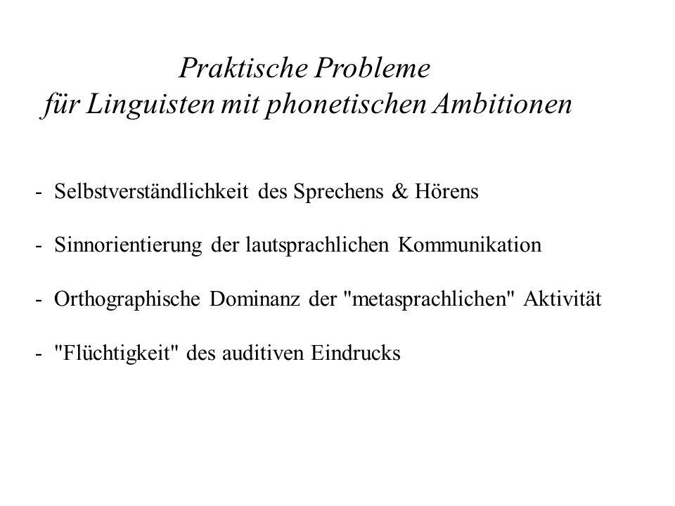 - Selbstverständlichkeit des Sprechens & Hörens - Sinnorientierung der lautsprachlichen Kommunikation - Orthographische Dominanz der metasprachlichen Aktivität - Flüchtigkeit des auditiven Eindrucks Praktische Probleme für Linguisten mit phonetischen Ambitionen