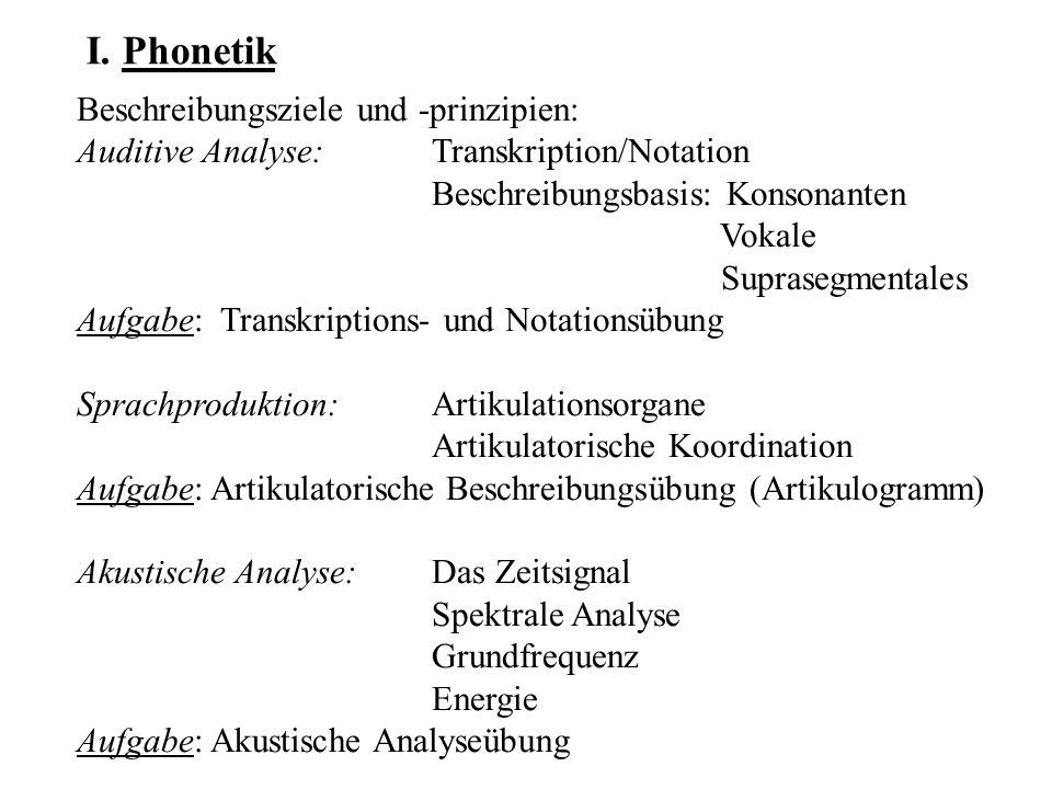 Struktur/Funktion: Phonetik und /vs.