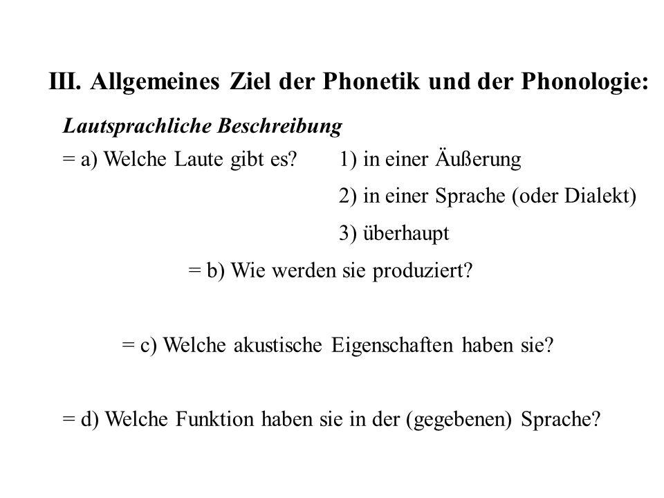 III. Allgemeines Ziel der Phonetik und der Phonologie: Lautsprachliche Beschreibung = a) Welche Laute gibt es? 1) in einer Äußerung 2) in einer Sprach