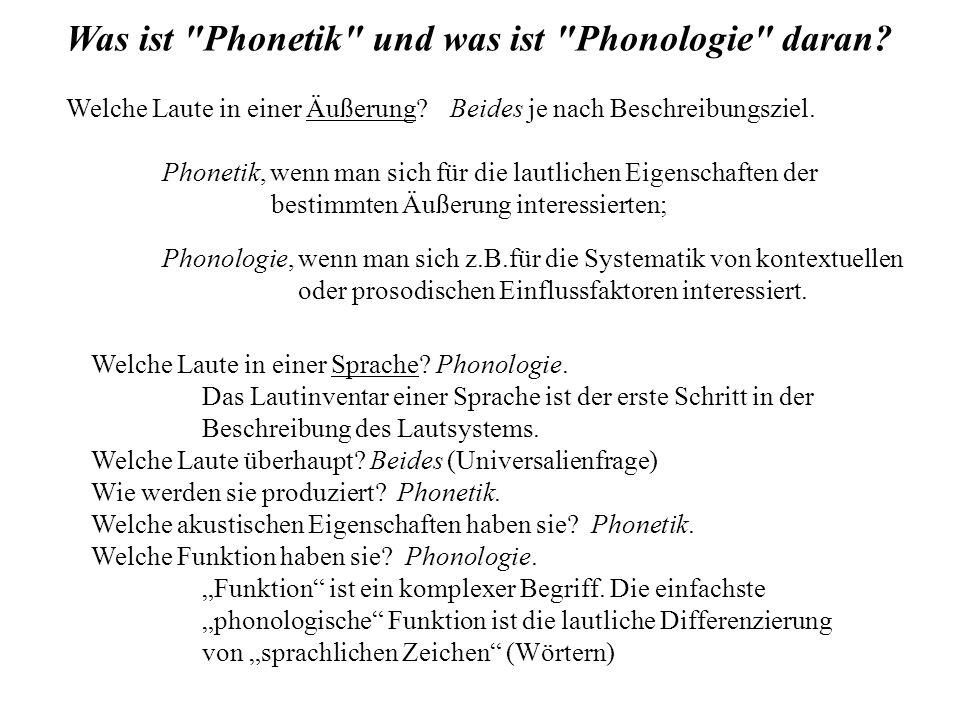 Welche Laute in einer Sprache. Phonologie.
