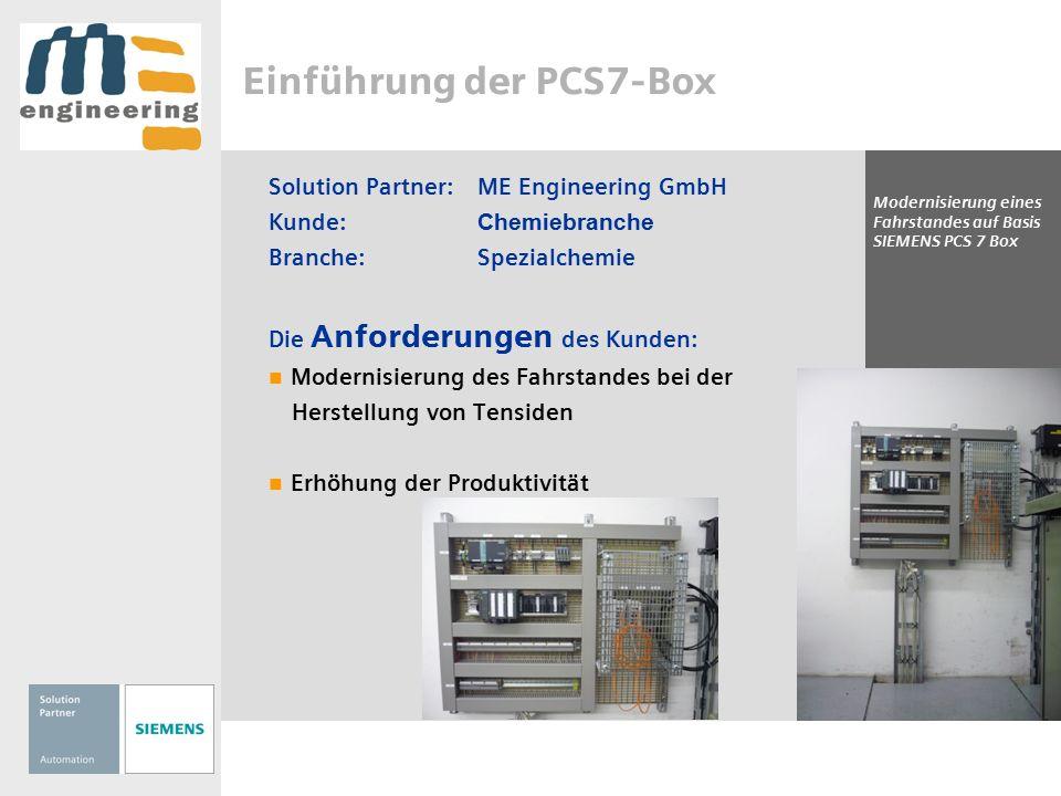 Einführung der PCS7-Box Solution Partner:ME Engineering GmbH Kunde: Chemiebranche Branche:Spezialchemie Die Umsetzung durch den Solution Partner: Rückbau des bestehenden Bedienfeldes Einbringen eines Operator-Panels mit PCS7-Box RTX Nutzung von PCS7 V 7.1 SP2 mit APL-Bibliothek