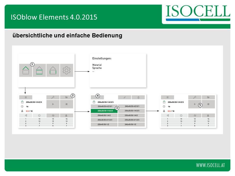 übersichtliche und einfache Bedienung ISOblow Elements 4.0.2015
