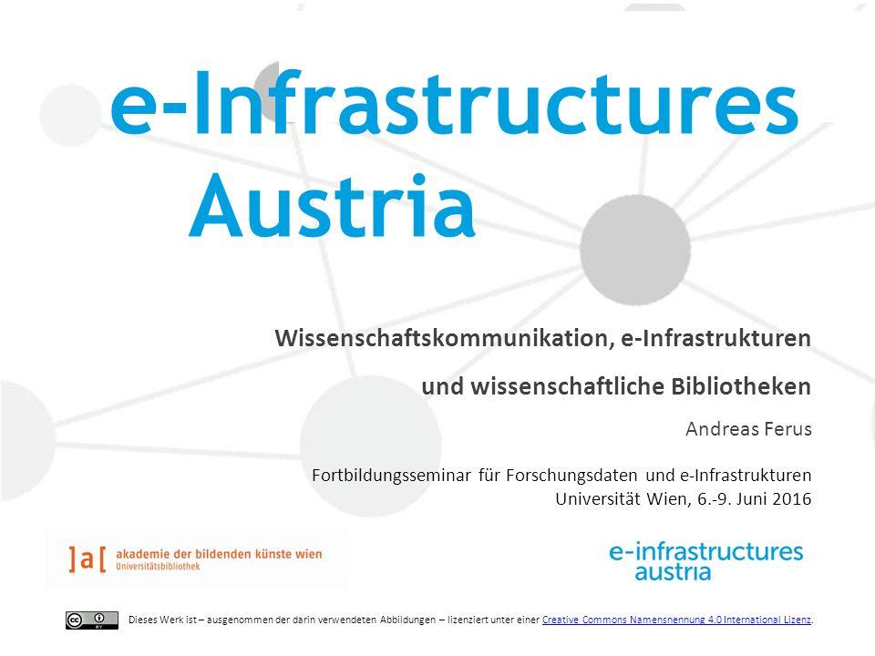 Wissenschaftskommunikation, e-Infrastrukturen und wissenschaftliche Bibliotheken Andreas Ferus Fortbildungsseminar für Forschungsdaten und e-Infrastrukturen Universität Wien, 6.-9.