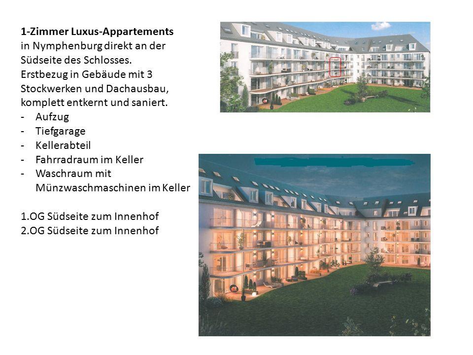 1-Zimmer Luxus-Appartements in Nymphenburg direkt an der Südseite des Schlosses.