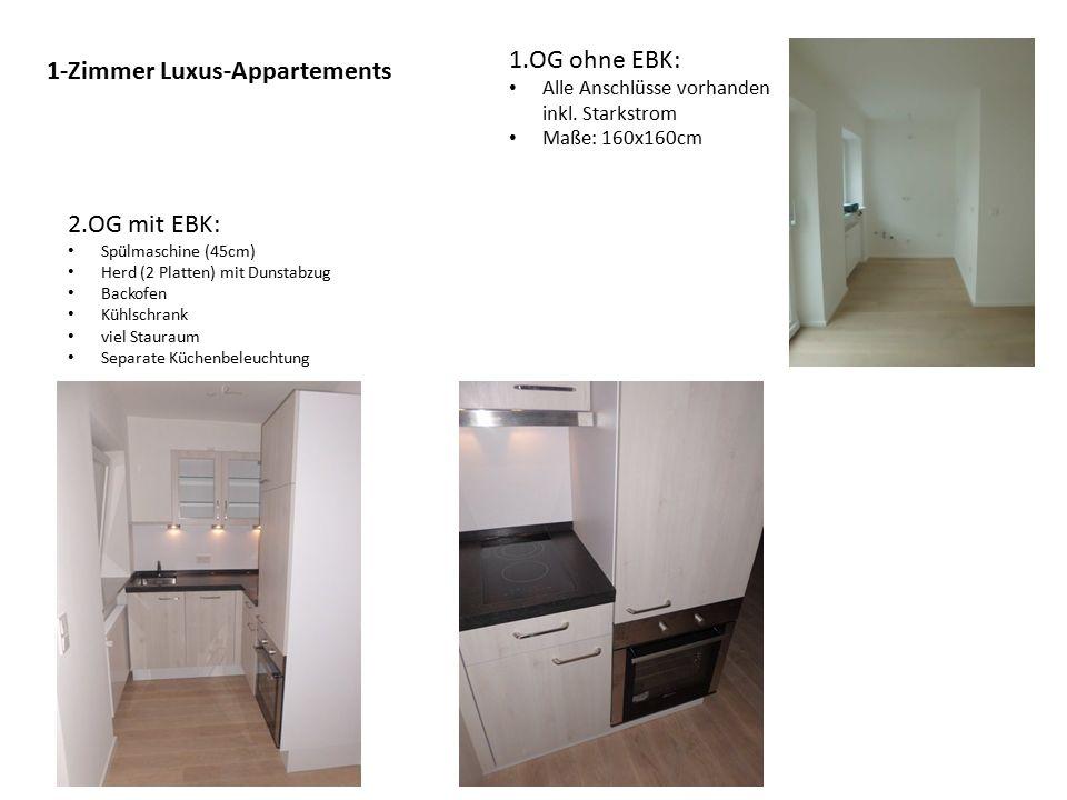 1-Zimmer Luxus-Appartements 1.OG ohne EBK: Alle Anschlüsse vorhanden inkl.