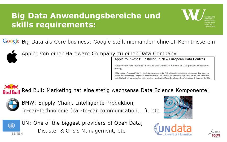 Big Data Anwendungsbereiche und skills requirements:  Big Data als Core business: Google stellt niemanden ohne IT-Kenntnisse ein  Apple: von einer Hardware Company zu einer Data Company  Red Bull: Marketing hat eine stetig wachsense Data Science Komponente.