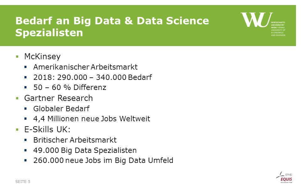 Big Data Berufsgruppen SEITE 6 Quelle: Big Data Analytics - An assessment of demand for labour and skills, 2012-2017 (eSkills uk, 2013)