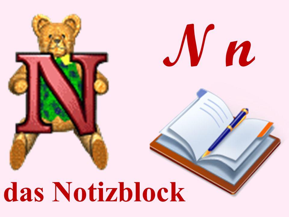 N n das Notizblock