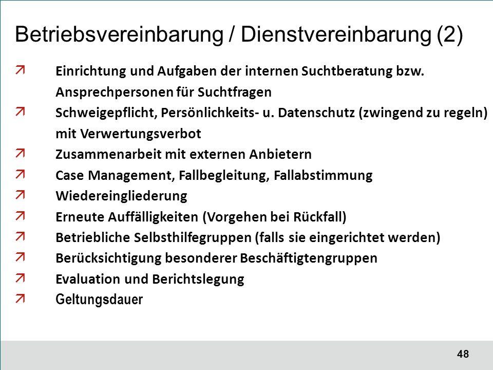 48 Betriebsvereinbarung / Dienstvereinbarung (2)  Einrichtung und Aufgaben der internen Suchtberatung bzw.