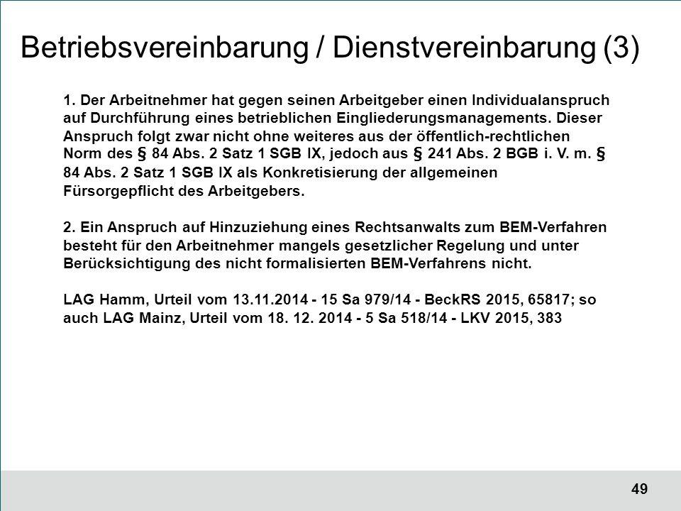 49 Betriebsvereinbarung / Dienstvereinbarung (3) 1.