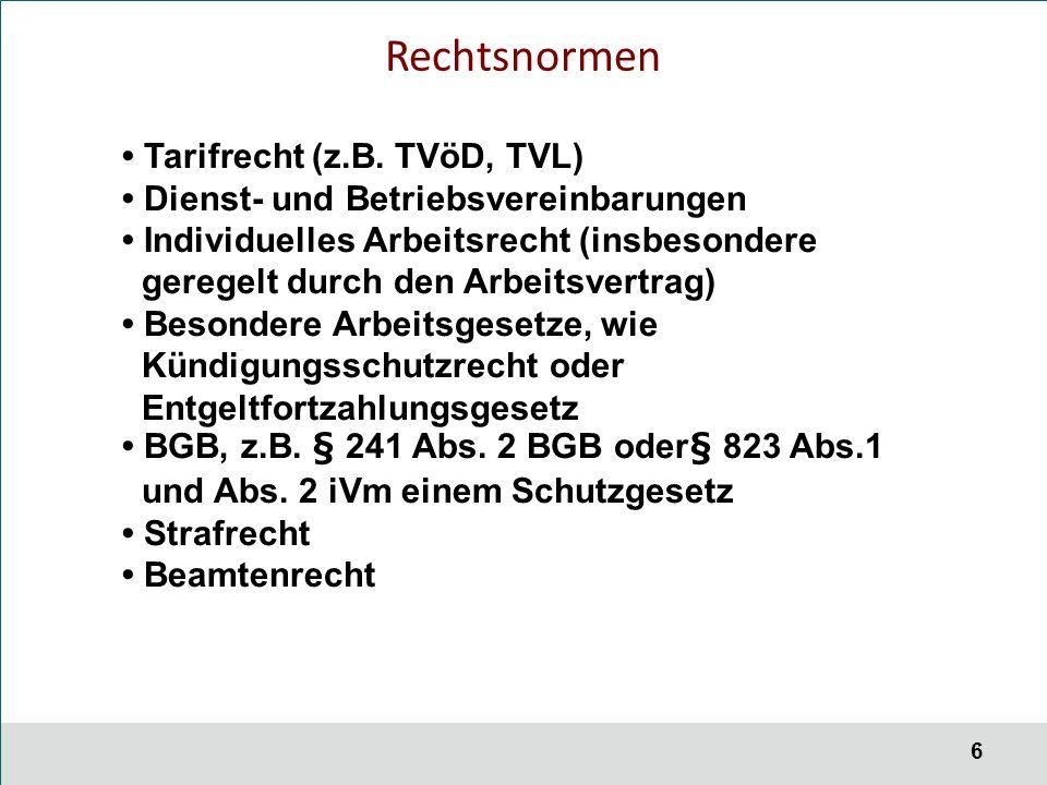 6 Rechtsnormen Tarifrecht (z.B.