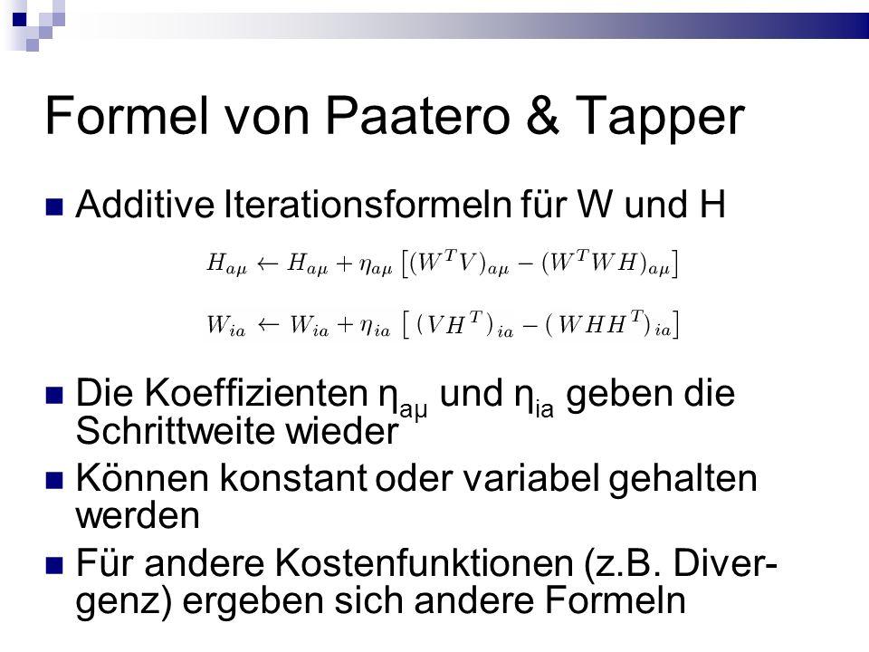Formel von Paatero & Tapper Additive Iterationsformeln für W und H Die Koeffizienten η aμ und η ia geben die Schrittweite wieder Können konstant oder variabel gehalten werden Für andere Kostenfunktionen (z.B.