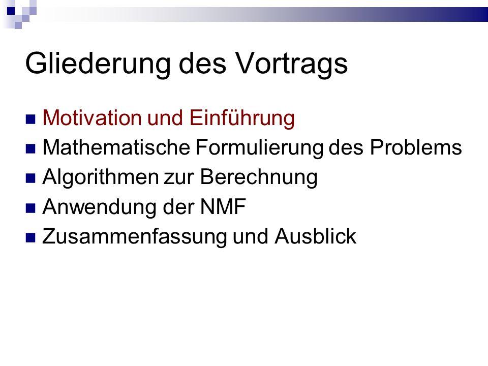Gliederung des Vortrags Motivation und Einführung Mathematische Formulierung des Problems Algorithmen zur Berechnung Anwendung der NMF Zusammenfassung und Ausblick