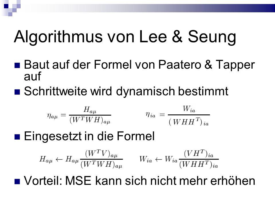 Algorithmus von Lee & Seung Baut auf der Formel von Paatero & Tapper auf Schrittweite wird dynamisch bestimmt Eingesetzt in die Formel Vorteil: MSE kann sich nicht mehr erhöhen