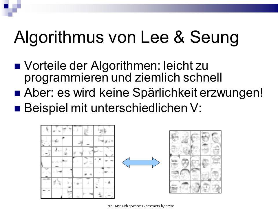 Algorithmus von Lee & Seung Vorteile der Algorithmen: leicht zu programmieren und ziemlich schnell Aber: es wird keine Spärlichkeit erzwungen.