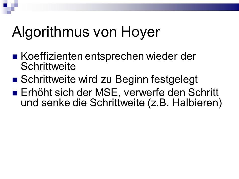 Algorithmus von Hoyer Koeffizienten entsprechen wieder der Schrittweite Schrittweite wird zu Beginn festgelegt Erhöht sich der MSE, verwerfe den Schritt und senke die Schrittweite (z.B.