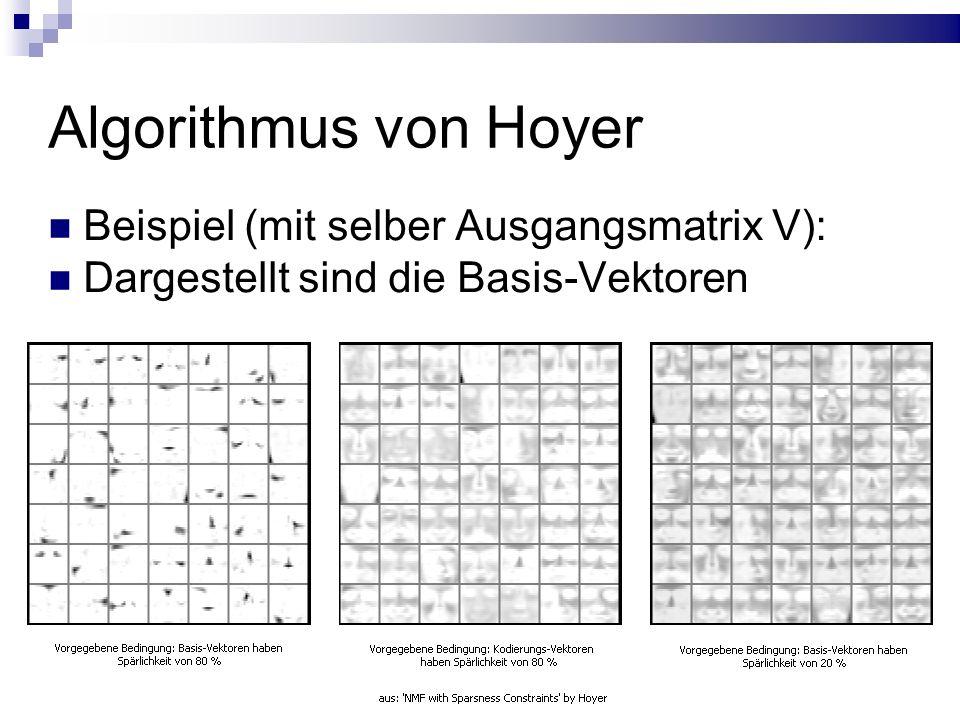 Algorithmus von Hoyer Beispiel (mit selber Ausgangsmatrix V): Dargestellt sind die Basis-Vektoren