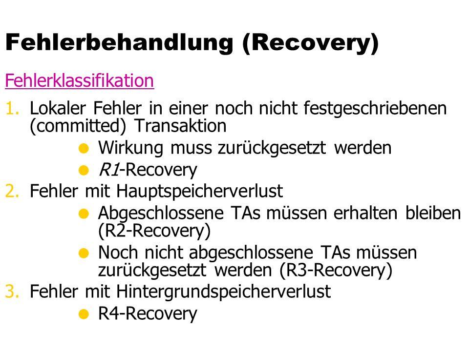 Fehlerbehandlung (Recovery) 1.Lokaler Fehler in einer noch nicht festgeschriebenen (committed) Transaktion  Wirkung muss zurückgesetzt werden  R1-Recovery 2.Fehler mit Hauptspeicherverlust  Abgeschlossene TAs müssen erhalten bleiben (R2-Recovery)  Noch nicht abgeschlossene TAs müssen zurückgesetzt werden (R3-Recovery) 3.Fehler mit Hintergrundspeicherverlust  R4-Recovery Fehlerklassifikation