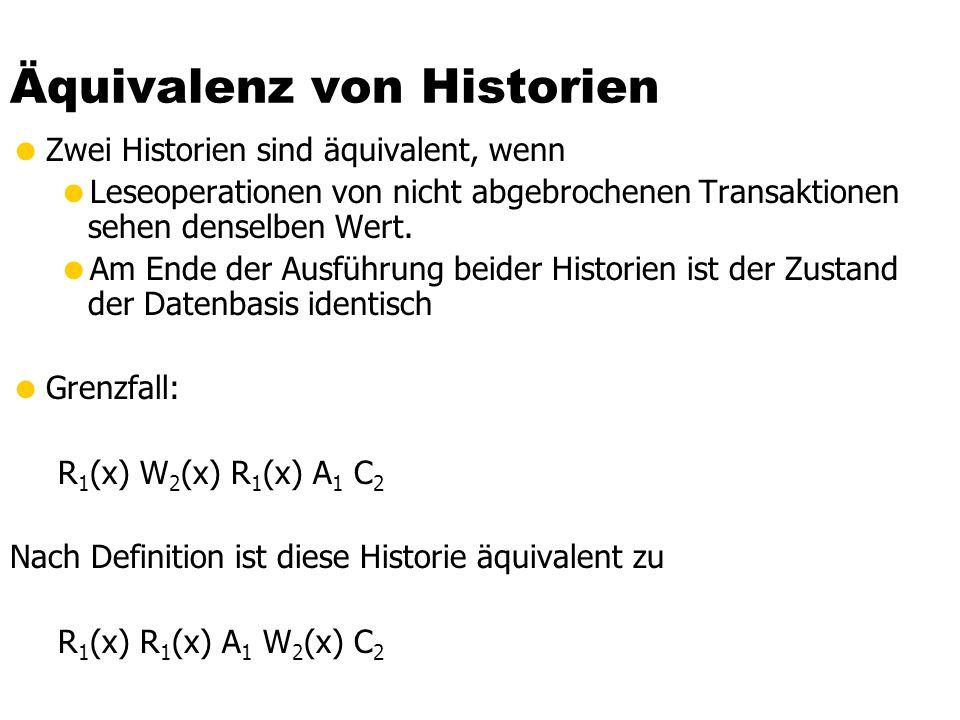 Äquivalenz von Historien  Zwei Historien sind äquivalent, wenn  Leseoperationen von nicht abgebrochenen Transaktionen sehen denselben Wert.