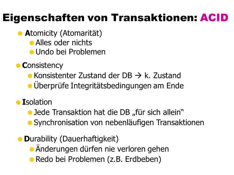 Eigenschaften von Transaktionen: ACID  Atomicity (Atomarität)  Alles oder nichts  Undo bei Problemen  Consistency  Konsistenter Zustand der DB  k.