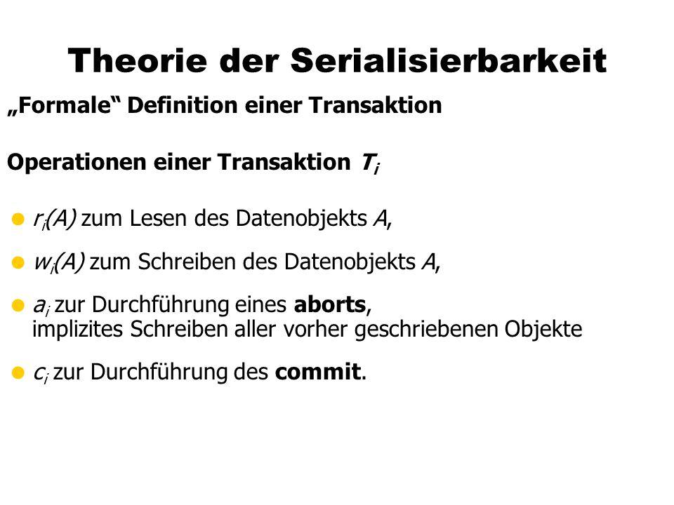 """Theorie der Serialisierbarkeit """"Formale Definition einer Transaktion Operationen einer Transaktion T i  r i (A) zum Lesen des Datenobjekts A,  w i (A) zum Schreiben des Datenobjekts A,  a i zur Durchführung eines aborts, implizites Schreiben aller vorher geschriebenen Objekte  c i zur Durchführung des commit."""