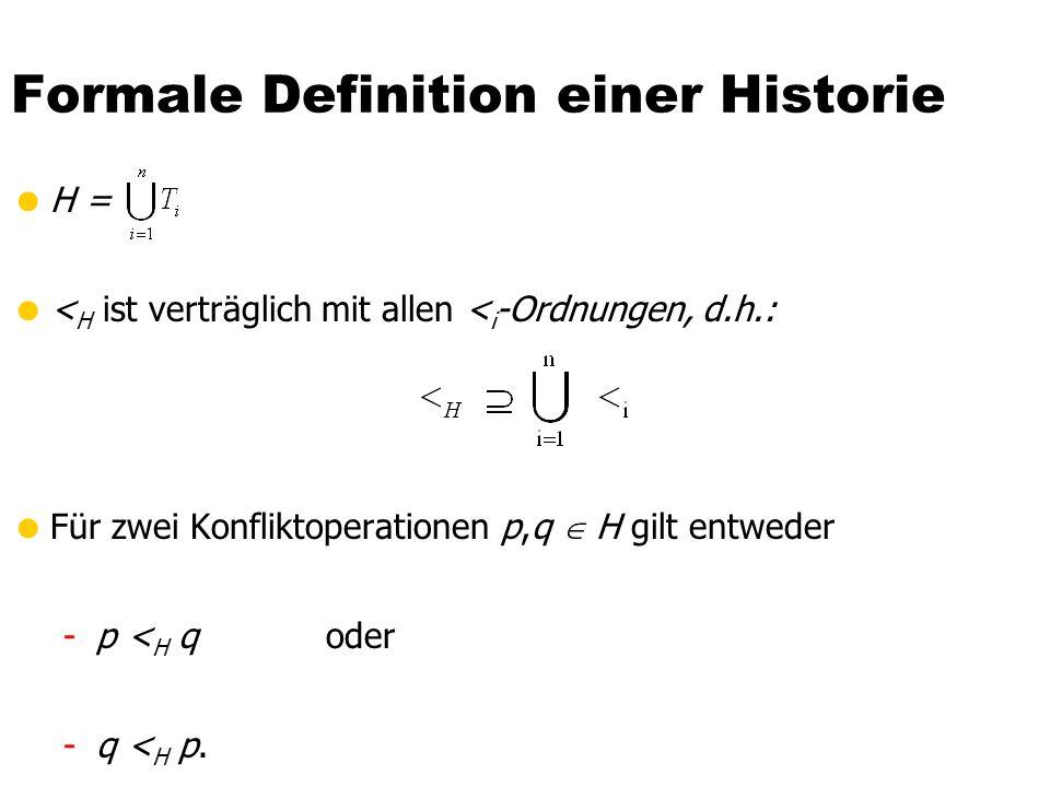 Formale Definition einer Historie  H =  < H ist verträglich mit allen < i -Ordnungen, d.h.:  Für zwei Konfliktoperationen p,q  H gilt entweder -p < H q oder -q < H p.