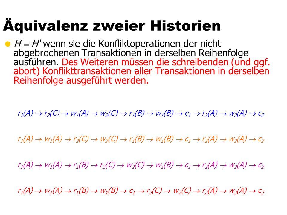 Äquivalenz zweier Historien  H  H' wenn sie die Konfliktoperationen der nicht abgebrochenen Transaktionen in derselben Reihenfolge ausführen.