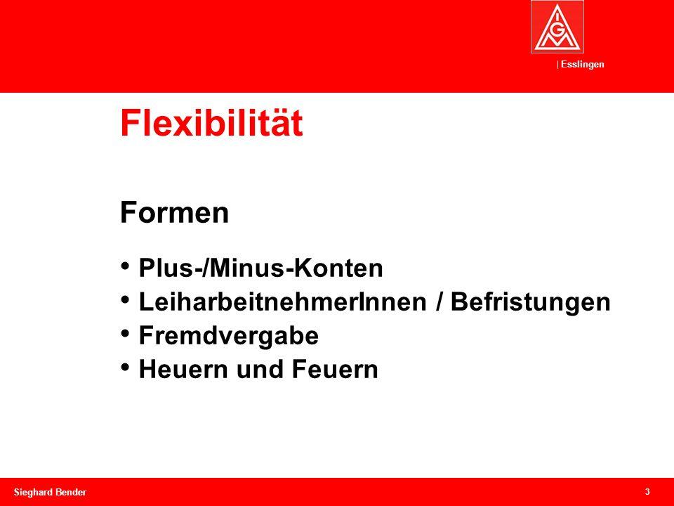 Esslingen Flexibilität 3 Sieghard Bender Formen Plus-/Minus-Konten LeiharbeitnehmerInnen / Befristungen Fremdvergabe Heuern und Feuern
