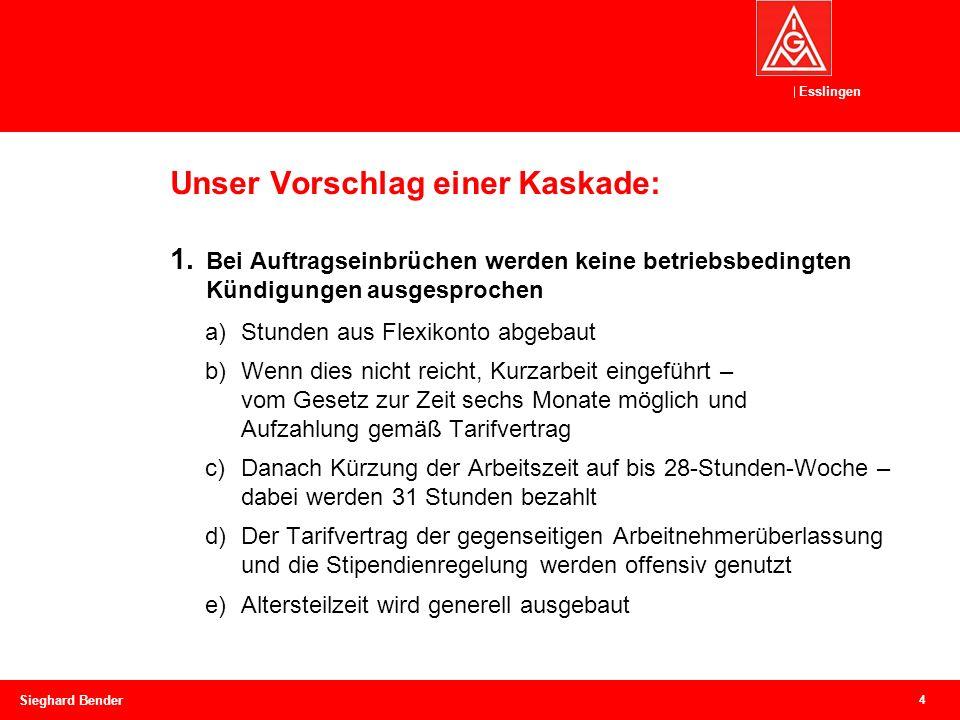 Esslingen Unser Vorschlag einer Kaskade: 4 Sieghard Bender 1.