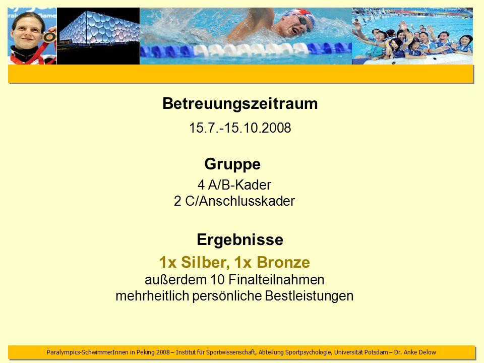 Paralympics-SchwimmerInnen in Peking 2008 – Institut für Sportwissenschaft, Abteilung Sportpsychologie, Universität Potsdam – Dr.